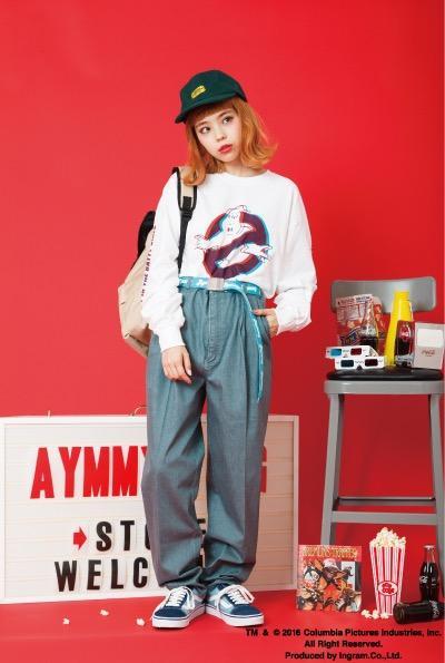 エイミーと映画「ゴーストバスターズ」がコラボ! 3DメガネをかけるとロンTからロゴが飛び出る!?