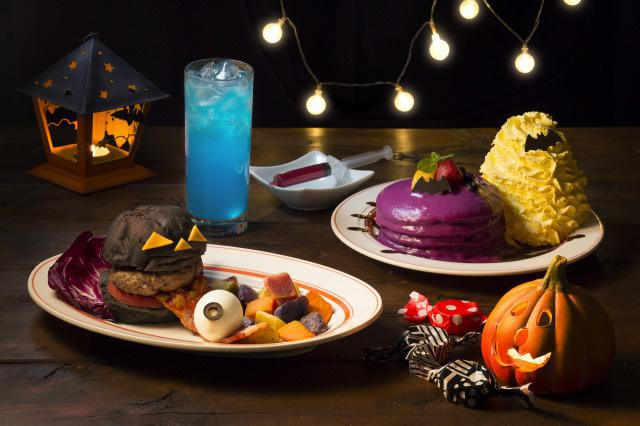 真っ黒ハンバーガーに不気味な色のジュースも!? 人気パンケーキ店「Eggs 'n Things」から ユニークなハロウィン限定メニューが新登場!